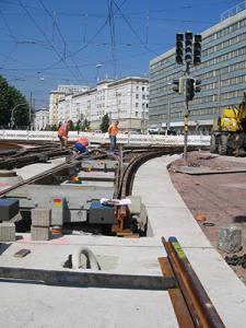 Gleisbauarbeiten der MHB